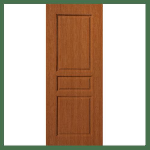 BWOOD  ประตูยูพีวีซี บานทึบ 3ลูกฟัก ECO (REVO) 90x200ซม. สีไม้สัก  เจาะ  LBENR002  REVO