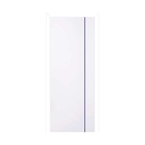 BWOOD ประตูพีวีซี บานทึบเซาะร่องเส้นน้ำเงินพร้อมวงกบ  ขนาด70x200ซม. (เจาะ) Navy-Series BN1 สีขาว