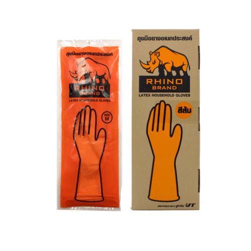 RHINO Rhino ถุงมือยางอเนกประสงค์ สีส้ม size M (กล่องละ 12 คู่) Rhino  สีส้ม