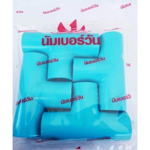 Number One ข้อต่อสามทาง 90° 1 นิ้ว  (แพ็ค 4) สีฟ้า