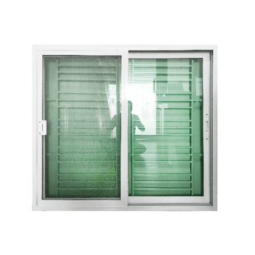 Wellingtan หน้าต่างอะลูมิเนียมบานเลื่อน SS พร้อมเหล็กดัด ขนาด 120x110ซม.  C1211BT สีขาว