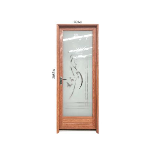 Wellingtan  ชุดประตูอะลูมิเนียมลายกอหญ้า (เปิดซ้าย) ขนาด 70x200ซม. สีไม้สัก ALD-LS60261 L