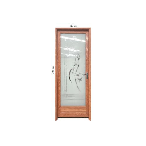 Wellingtan ชุดประตูอะลูมิเนียมลายกอหญ้า (เปิดขวา) ขนาด 70x200ซม. สีไม้สัก ALD-LS60261 R