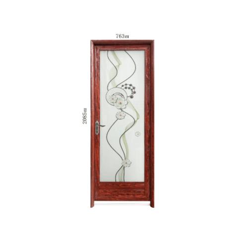 Wellingtan  ชุดประตูอะลูมิเนียมลายกลีบดอกบัว (เปิดซ้าย) ขนาด70x200ซม. สีลายไม้แดง ALD-LS9311 L
