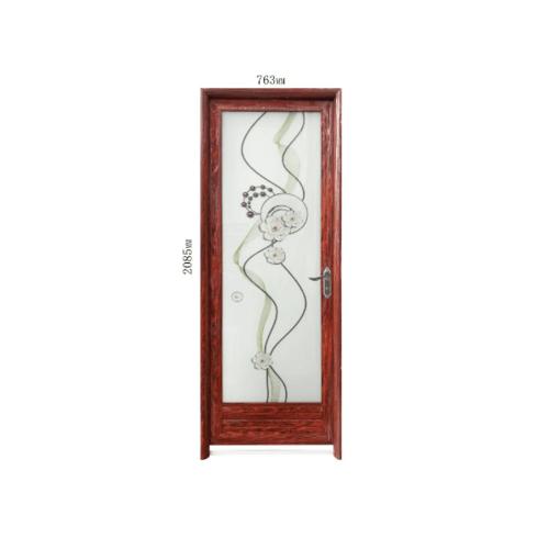 Wellingtan ชุดประตูอะลูมิเนียมลายกลีบดอกบัวขอบ (เปิดขวา)ขนาด 70x200ซม. สีลายไม้แดง ALD-LS9311 R