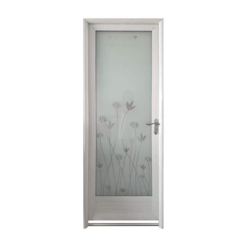 Wellingtan ประตูอลูมิเนียม ลายดอกไม้สีเทา (เปิดขวา) ขนาด 70x200ซม. ALD-LS9434R สีขาว