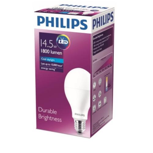 PHILIPS หลอดแอลอีดี บัลบ์ 14.5 วัตต์  E27 6500K A67 1CT/6A สีขาว