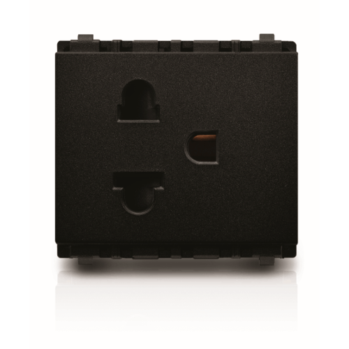 PHILIPS เต้ารับไฟฟ้าเดี่ยว 2 สาย+สายดิน มีม่านนิรภัย leafstyle sim 2p+e us-eu socket สีดำ