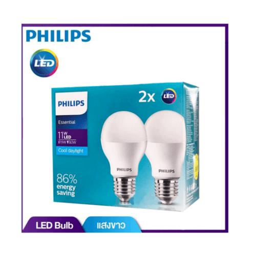 PHILIPS หลอดแอลอีดีบัล์บ  ESS LED BULB 11W E27 6500K 230V 2CT/6 APR