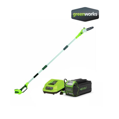 GREENWORKS  เครื่องตัดกิ่งไม้สูงไร้สาย ขนาด 40V พร้อมแท่นชาร์จและแบตเตอรี่ GWS0013