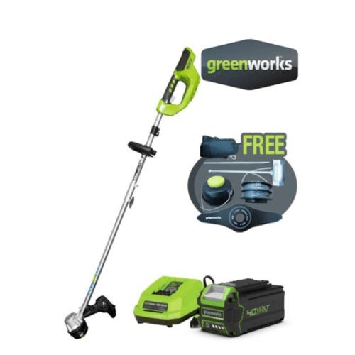 GREENWORKS เครื่องตัดหญ้า  ขนาด 40V พร้อมแบตเตอรีและแท่นชาร์จ สีเขียว