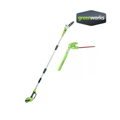 GREENWORKS เลื่อยตัดแต่งกิ่งไม้ 40 V ,  2in1 (เปลี่ยนเป็นเครื่องเล็มพุ่มได้) (เฉพาะตัวเครื่อง) สีเขียว