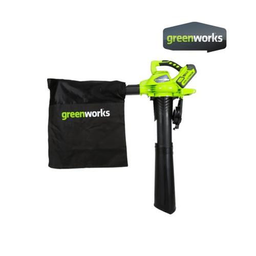 GREENWORKS เครื่องเป่าลมและดูดใบไม้ ขนาด 40V พร้อมแบตเตอรีและแท่นชาร์จ GWS0008