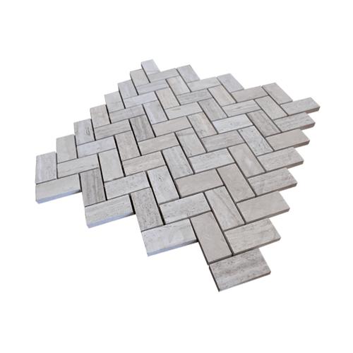 หินธรรมชาติ 30x30 โมเสคหินอ่อนเทาลายไม้ ผิวขัดมัน   NSD-NMR-019