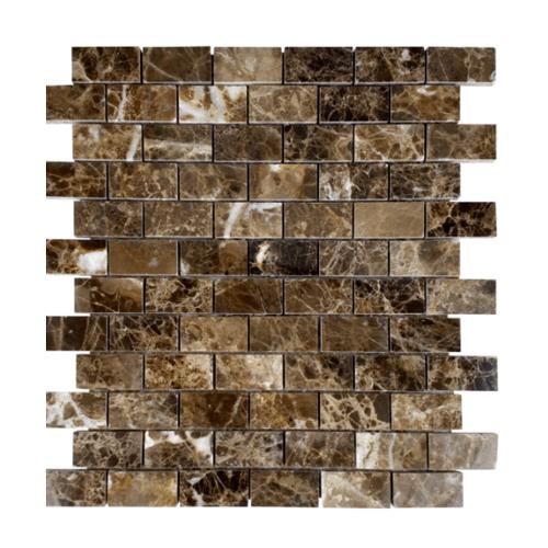 หินธรรมชาติ 30x30 โมเสคหินอ่อนดาร์กเอ็มพาราโด้ ผิวขัดมัน  NSD-NMB-005