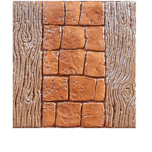 CONTEXTURE คอนกรีตพิมพ์ลาย ขนาด40x40x3.4ซม.  Wood 002  สีส้ม