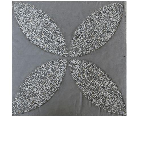 CONTEXTURE  หินล้างแกะลาย   ดอกรัก 003 ขนาด30x30x3.2ซม.  สีเทา