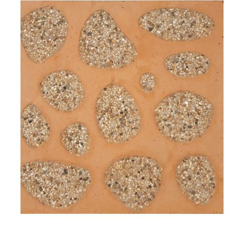CONTEXTURE หินล้างแกะลาย ขนาด30x30x3.2ซม. หินกรวด 002 สีส้ม