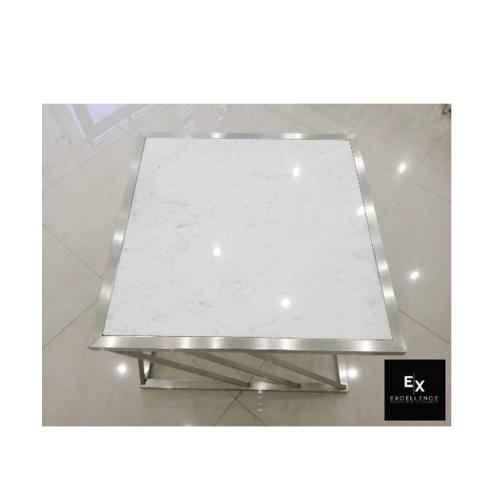 Excellence โต๊ะกลางรับแขกหินอ่อนเทา 19ABCT-606045 สีขาว