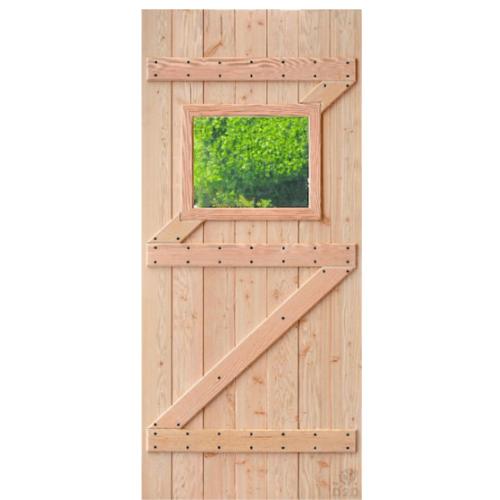 D2D ประตูไม้ดักลาสเฟอร์ บานทึบเจาะช่องกระจก 70x180cm.  Eco Pine-111