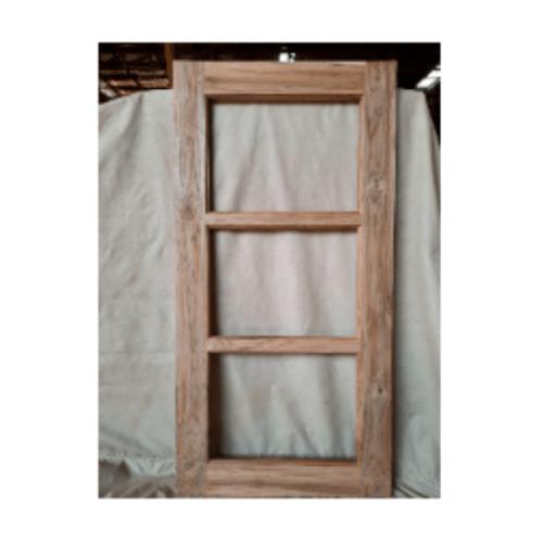SJK หน้าต่างไม้สัก บันไดลิง(โปร่ง) ขอบ 4 นิ้ว  ขนาด60x120ซม.