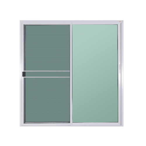 A-Plus ประตูอลูมิเนียมบานเลื่อน ขนาด 200x204cm. SS Like-015 พร้อมมุ้ง สีขาว