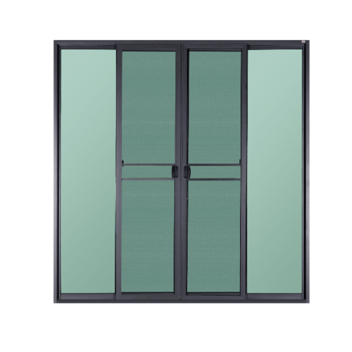 A-Plus  ประตูอะลูมิเนียมบานเลื่อน ขนาด 200x205ซม. สีดำด้าน พร้อมมุ้ง FSSF