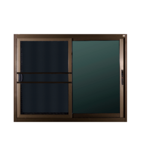 A-Plus หน้าต่างอลูมิเนียมบานเลื่อน ขนาด 1.20 x 1.08 ม.  SS Like 002 สีชา พร้อมมุ้ง