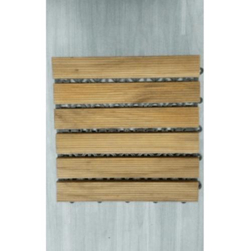 SJK แผ่นไม้สักปูพื้นสำเร็จรูป ขนาด 30x30ซม. ลายลูกฟูกลอนเต็ม
