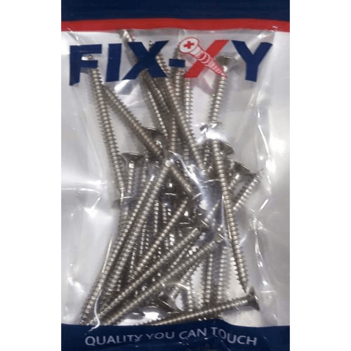 FIX-XY สกรูยึดกระเบื้อง ปลายแหลม สีเงิน ขนาด# 8 ยาว 2.25 นิ้ว (55 มม.)(25pcs/bag) FHB-01-S-G