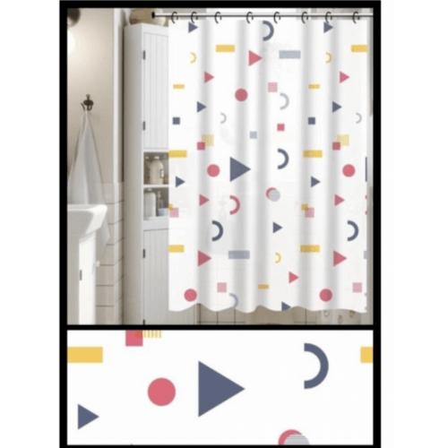 PRIMO ผ้าม่านห้องน้ำ PEVA ลายกราฟฟิก ขนาด180*180 ซม. DF020