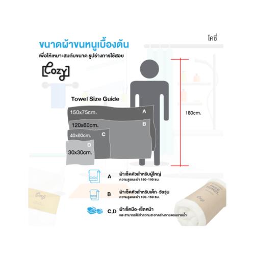 COZY ผ้าขนหนูไมโครไฟเบอร์ ขนาด 30x30ซม.  BQ014-NBL สีกรม