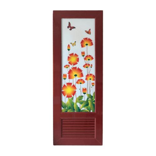 Wellingtan ประตูพีวีซี พิมพ์ลายดอกไม้ ขนาด  70x200cm. สีไม้แดง INKJT-002