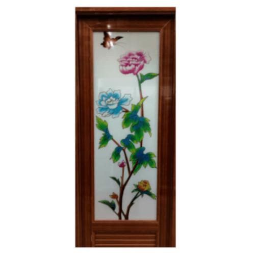 Wellingtan ประตูพีวีซี พิมพ์ลายดอกโบตั๋น ขนาด  70x200cm. สีเชอรี่  INKJT-003