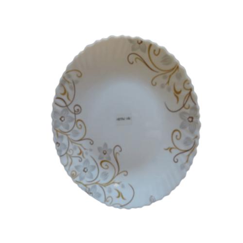 ADAMAS จานโอปอลขอบริ้ว ลายดอกซากุระ 10.5 HBTP105-1080 สีขาว