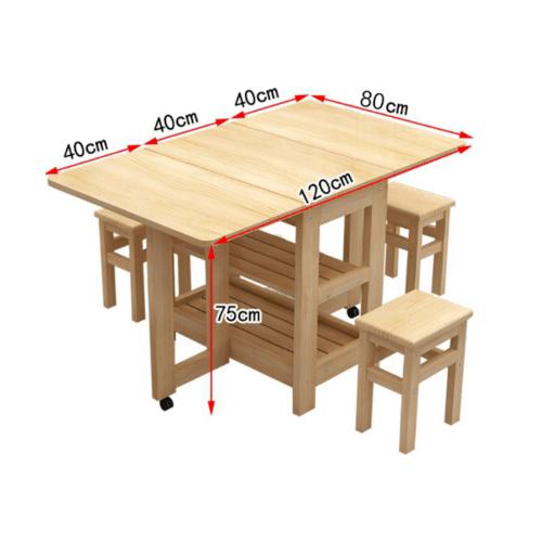Delicato ชุดโต๊ะอาหารไม้ยางพาราพับได้ 4ที่นั่ง80x120x75cm.  S-02A