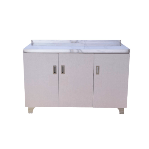 CLOSE ตู้พร้อมท๊อปสเตนเลส ขนาด  120x50x80 ซม.  PQS-E013 สีขาว