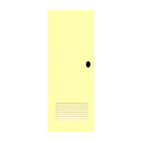 OK ประตูบานเกล็ดพีวีซี (เจาะ) ขนาด 70x180 ซม. พร้อมวงกบ   P2 สีครีม