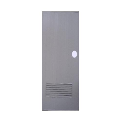 OK ประตูบานเกล็ดพีวีซี (เจาะ) ขนาด  70x180 ซม. พร้อมวงกบ  P2 สีเทา