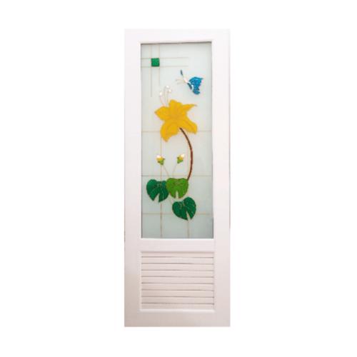 OK ประตูกระจกเพ้นลายดอกไม้เหลือง ขนาด 70x200 ซม.พร้อมวงกบ U07 ไม่เจาะ สีขาว