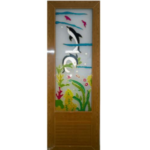 OK ประตูไวนิลกระจก กระจกเพ้นลายปลาโลมา พร้อมวงกบ  ขนาด  70x200 ซม.  **ไม่เจาะ** U01  สีสักทอง