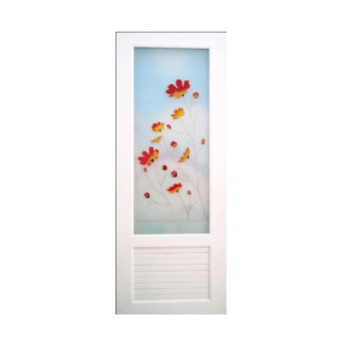 OK ประตูไวนิลกระจก ขนาด 70x200 ซม. U18 สีขาว