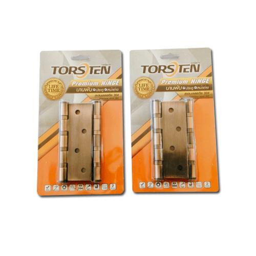 TORSTEN บานพับสเตนเลสเกรด304 4x3x2mm 2ชิ้น สีทองแดงโบราณ HSS304-4320RC2