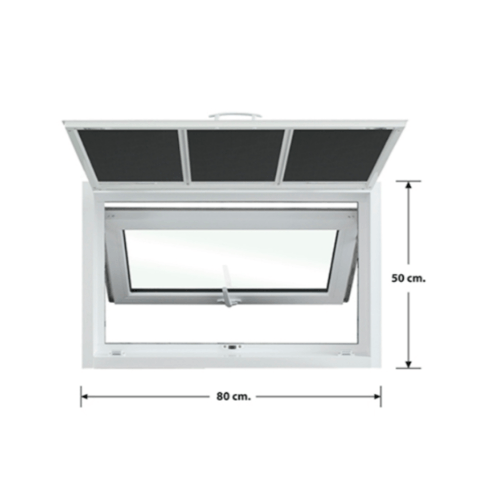 3G หน้าต่างบานกระทุ้งเดี่ยว + มุ้ง ขนาด 0.80x0.50 เมตร X Series สีขาว