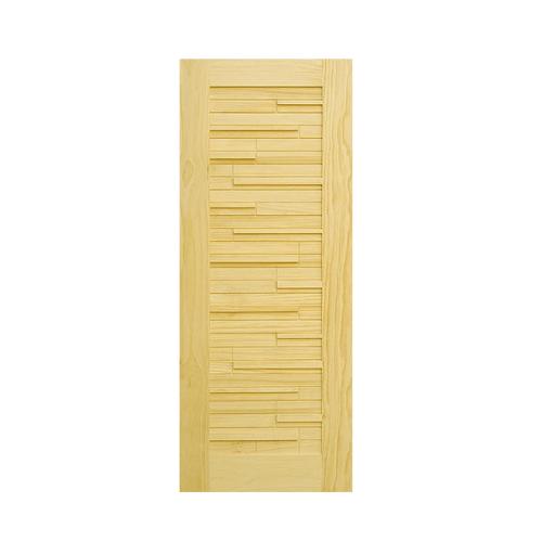 D2D ประตูไม้สนนิวซีแลนด์ ขนาด 90x200 cm. D2D-501 น้ำตาลอ่อน