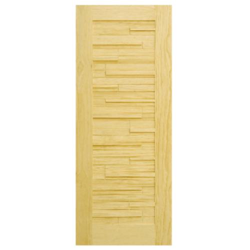 D2D ประตูไม้สนนิวซีแลนด์ ขนาด  120x220 cm. D2D-501 สีน้ำตาลอ่อน