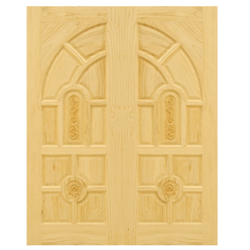 D2D ประตูไม้สนนิวซีแลนด์ ขนาด 100x220 cm. Eco Pine-005 สีน้ำตาลอ่อน