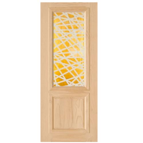 D2D ประตูไม้สนนิวซีแลนด์ ขนาด 80x200 cm.  D2D-602 สีน้ำตาลอ่อน
