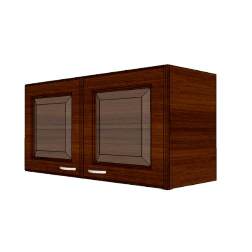 MJ ตู้แขวนบานกระจกตรงใส สีโอ๊ค W408GL-O