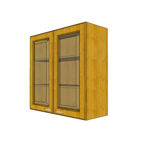 MJ ตู้แขวนบานกระจกตรงใส สีสัก W808GL-T